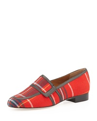 Bettye Muller Rolls Tartan Plaid Loafer Red