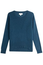 Velvet Cashmere Pullover With Waffle Detailing Turquoise