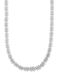 Macy's Arabella Swarovski Cubic Zirconia Flower Statement Necklace In Sterling Silver