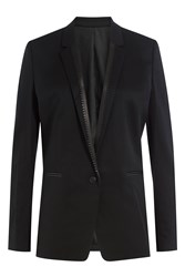 The Kooples Wool Blazer With Leather Trim Blue