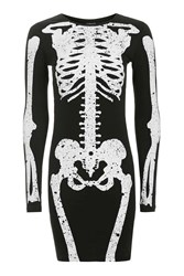 Topshop Skeleton Bodycon Dress Black