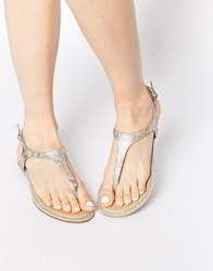Lipsy Mimi Snake Embellished Toe Post Sandals Beigecombo