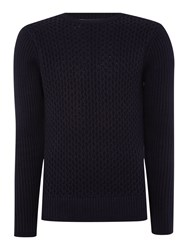 Duck And Cover Clinton Crew Neck Cable Knitwear Dark Navy