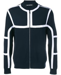 Neil Barrett Ribbed Motorcycle Jacket Black Multi Coloured Silver White Navy Blue