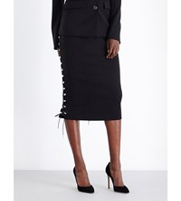 Antonio Berardi Leather Lace Thread Stretch Wool Skirt Nero