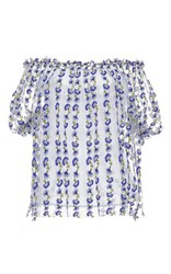 Luisa Beccaria Off The Shoulder Blue Blouse