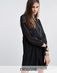 Reclaimed Vintage Sheer Layer Smock Dress With Star Patches Black