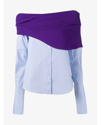 Jacquemus Off Shoulder Cotton Shirt Purple Blue White Denim