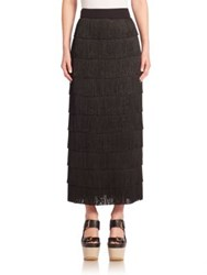 Stella Mccartney Silk Fringe Maxi Skirt Black