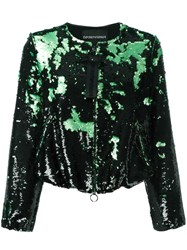 Emporio Armani Sequined Cropped Jacket Black