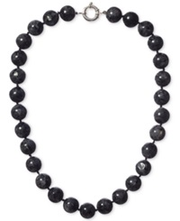 Macy's Labradorite Bead Knotted Necklace 14Mm In Sterling Silver