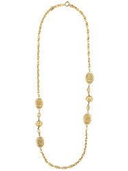 Chanel Vintage Crown Coin Necklace Metallic