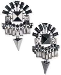 Givenchy Hematite Tone Jet Stone Chandelier Earrings Black