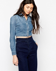 Blank Nyc Cropped Denim Shirt Blue