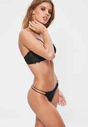 Missguided Black Lace Strap Detail Thong