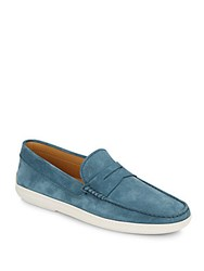 Tod's Suede Penny Loafers Blue