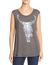 Chaser Bull Skull Graphic Muscle Tank Union Black