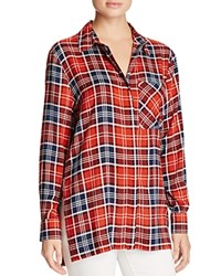 Aqua Seraphina Split Side Plaid Shirt Red Navy