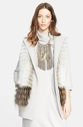 Fabiana Filippi Belted Wool Cashmere And Silk Sweater Vest With Removable Genuine Fox Fur Shawl