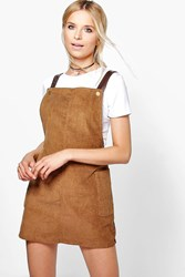 Boohoo Faux Leather Square Neck Pinafore Dress Tan