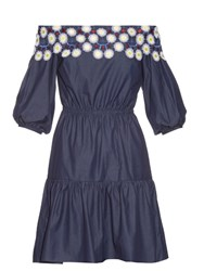 Peter Pilotto Pallas Off The Shoulder Cotton Dress Navy Multi