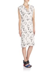 Marni Palm Tree Print Dress White Black