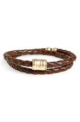 Bolo Accent Braided Leather Bracelet Brown Brass
