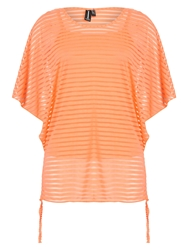 Izabel London See Thru Stripe Top Orange