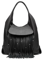 Henry Beguelin Leather Fringe Hobo Bag Gr. One Size