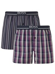 Boss Logo Boss Check Stripe Woven Cotton Boxers Pack Of 2 Blue Purple