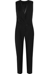 Karl Lagerfeld Emilia Leather Trimmed Wool Pique Jumpsuit Black