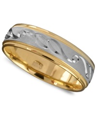 Macy's Men's 14K Gold And 14K White Gold Ring Engraved Band Size 6 13