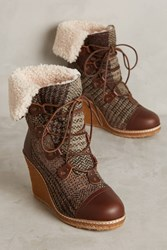 Anthropologie Australia Luxe Collective Mona Wedge Boots Brown