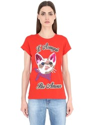 Gucci Cat Embroidered Patch Jersey T Shirt