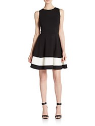 Saks Fifth Avenue Red Block Striped A Line Dress Black
