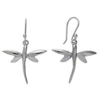 Andea Sterling Silver Dragonfly Drop Earrings