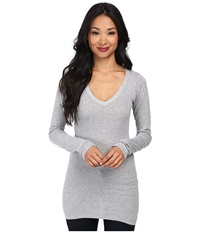 Lamade Fitted V Neck Tee Heather Grey Women's Long Sleeve Pullover Gray