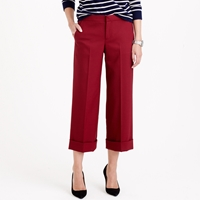 J.Crew Collection Cropped Wide Leg Trouser In Bi Stretch Wool