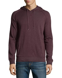 Vince Hooded Cotton Pullover Sweatshirt Black Cherry Slate