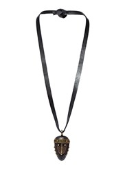 Valentino Leather Tie Wooden Mask Necklace Black