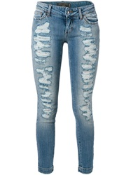 Dolce And Gabbana Distressed Cropped Jeans Blue
