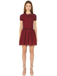 Red Valentino Wool Knit And Tulle Dress