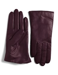 Lord And Taylor Cashmere Lined Leather Gloves Amethyst