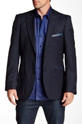 Robert Graham Callander Navy Paisley Two Button Notch Lapel Wool Sportcoat Blue