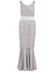 Gina Bacconi Beaded Lace Fishtail Gown Grey