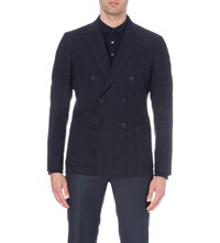 Hardy Amies Double Breasted Checked Wool Blend Jacket Navy