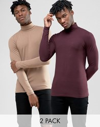 Asos Extreme Muscle Long Sleeve T Shirt With Roll Neck 2 Pack Tan Oxblood Multi