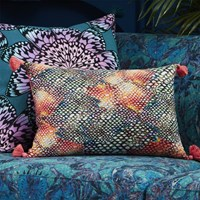 Cb2 Rainbow Snake With Tassels 18 X12 Pillow With Feather Down Insert