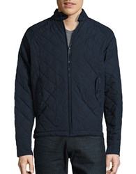 Ben Sherman Quilted Zip Front Jacket Navy Blazer