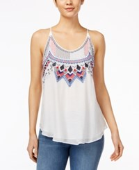 Amy Byer Bcx Juniors' Sleeveless Embroidered Blouse White
